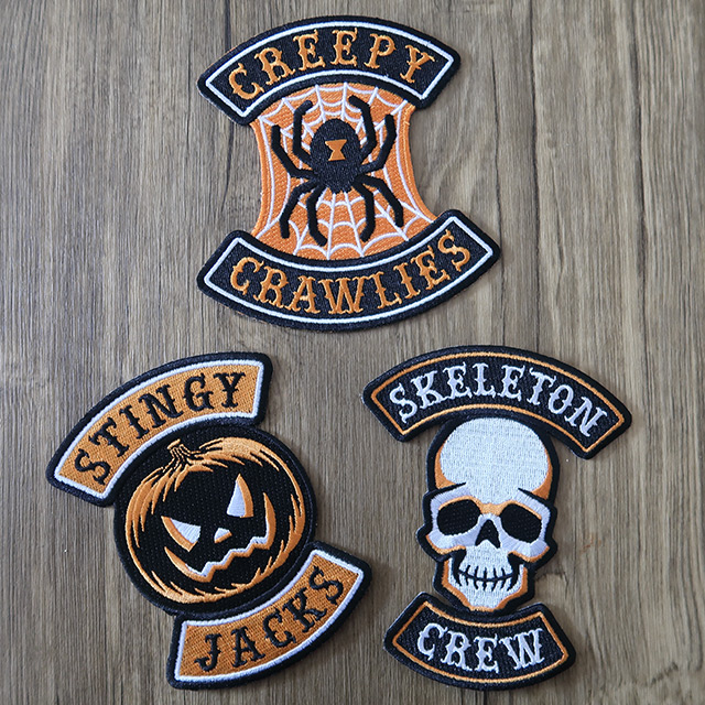 Three patches with a Halloween motorcycle club theme by Monsterologist