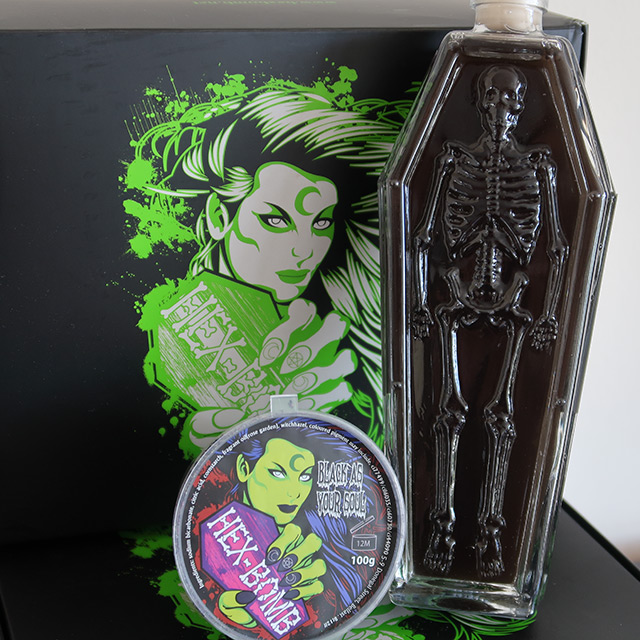 A 'Black As Your Soul' bath bomb and shower gel from Hexbomb
