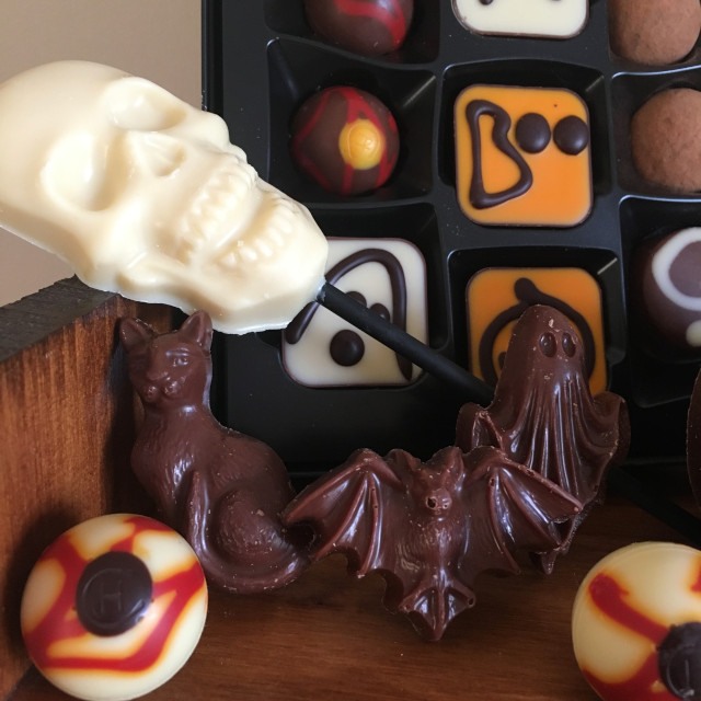 Halloween-themed chocolates from Hotel Chocolat (close up)