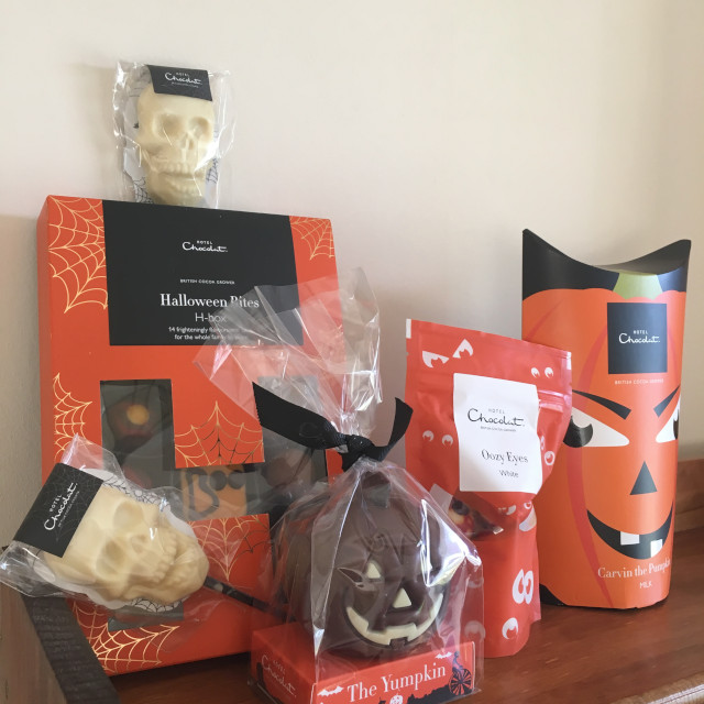 Halloween-themed chocolates from Hotel Chocolat (wrapped)
