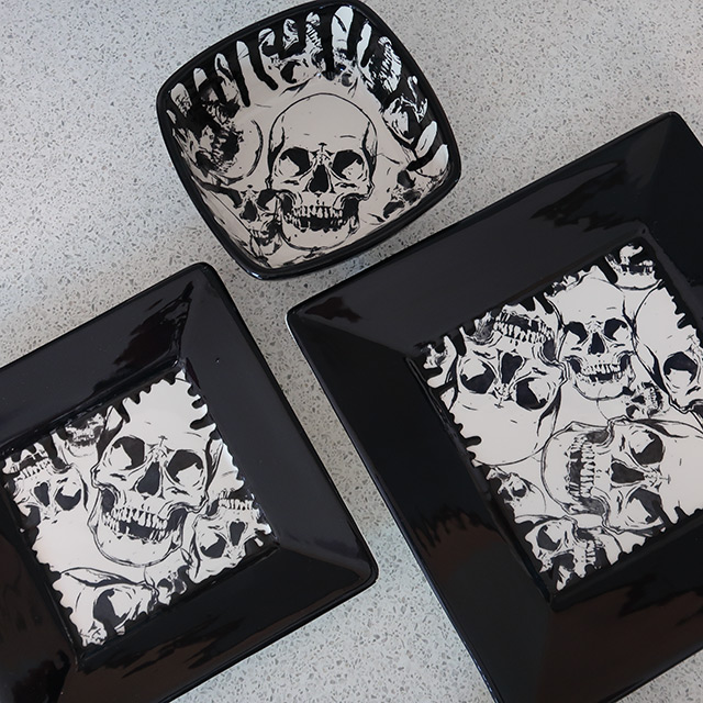 A square-shaped skull-patterned dinner set by Weird & Wonderful Ceramics