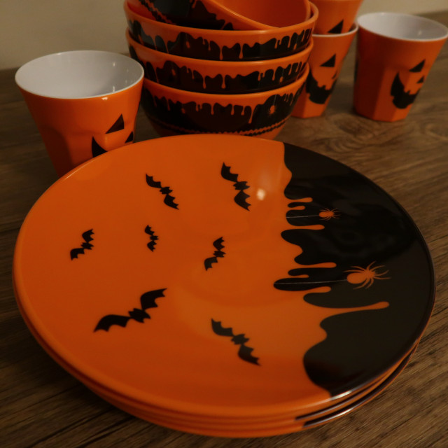 Halloween-themed Melamine plates, bowls and cups