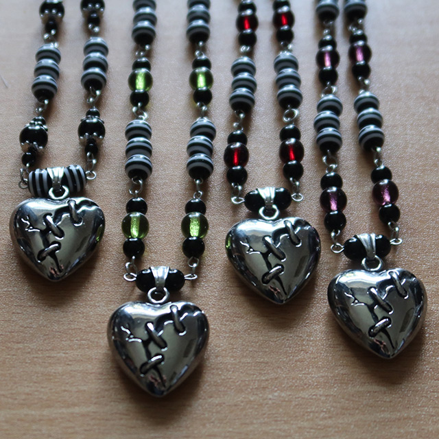 Broken Heart stainless steel beaded necklaces