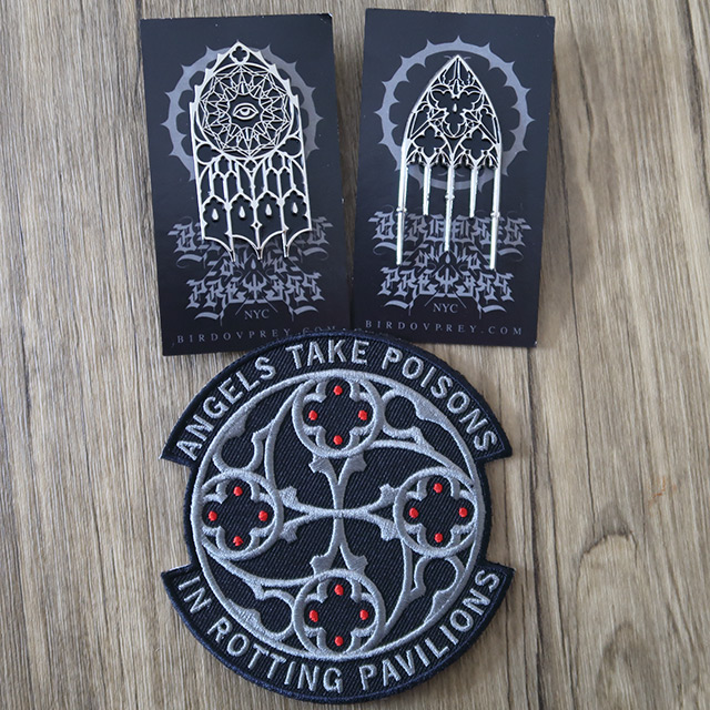 Two gothic pins and a patch by Bird Ov Prey