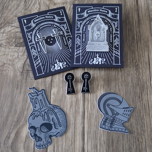 A selection of Gothic pins and stickers by Manière Noire