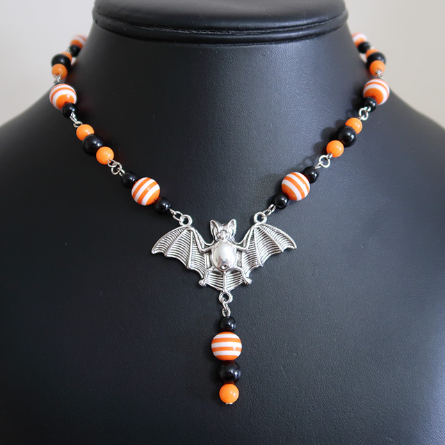 Halloween Striped Bat Necklace & Earrings Set (Orange/Orange)