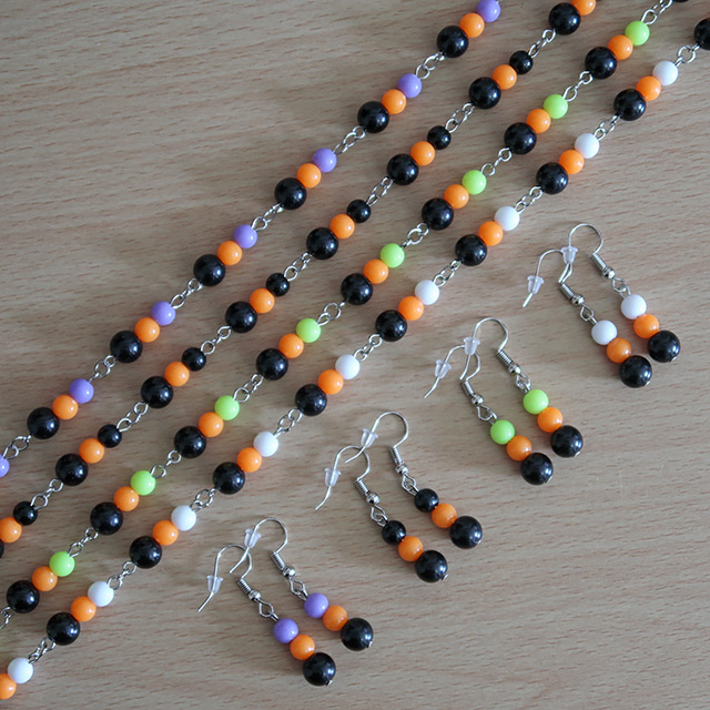 Halloween Bead Necklace & Earrings Set
