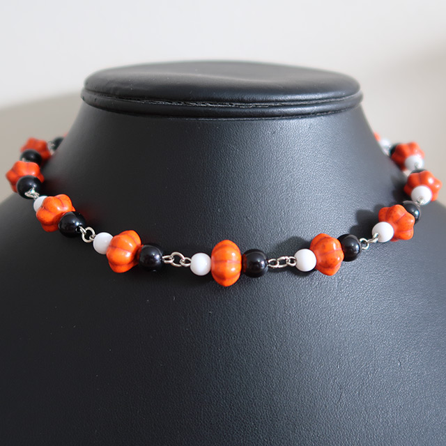 Halloween Pumpkin Bead Necklace & Earrings Set