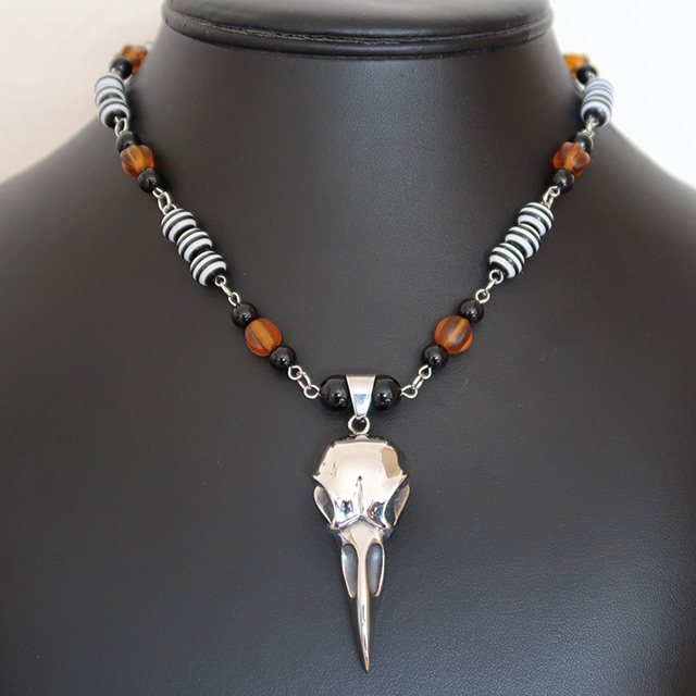 Bird/Raven Skull Necklace & Earrings Set (Black Onyx, Striped Resin, Pumpkin Glass)