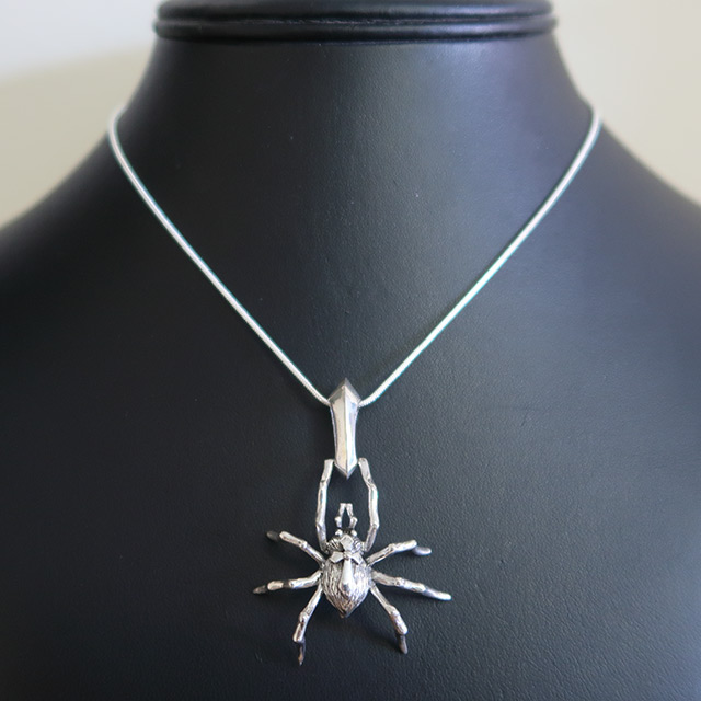 Spider With Cross Pendant (925 Sterling Silver)